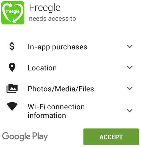 Screenshot of Google Play permissions request